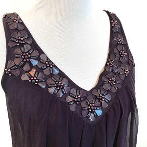 REBECCA TAYLOR Purple Embellished V-neck Silk Tank